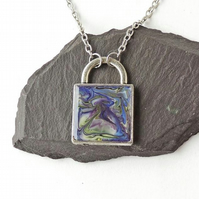 Square Blue & Purple Marbled Pattern Necklace, Double Sided - 952