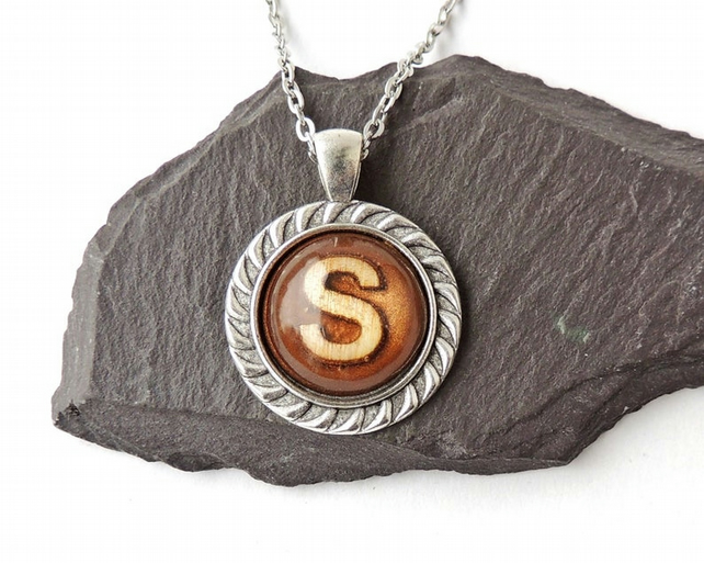 Brown Letter S Necklace, 18 inch Chain - 033
