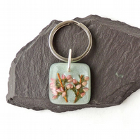 Pink Heather Flower Keyring - 1268