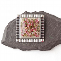 Square Pink Heather Flower Brooch - 1458