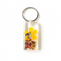 Real Flowers in Resin Keyring, SECONDS - 542a