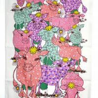 Tea towel - Cow design in pink - We call these cow girls 'Pink Ladies' - Cotton