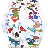 Pretty bird table runner, printed cotton table decoration for beautiful homes