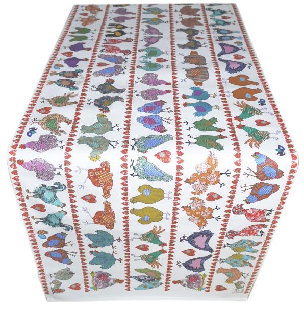 Table Runner - Chicken design -Cotton - Why did the chicken?