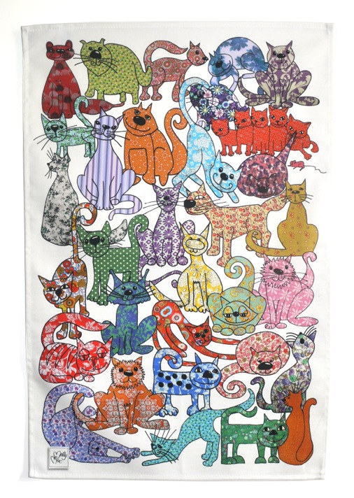 Cat Tea towel - We call 'Cat's Whiskers' - cotton kitchen towel