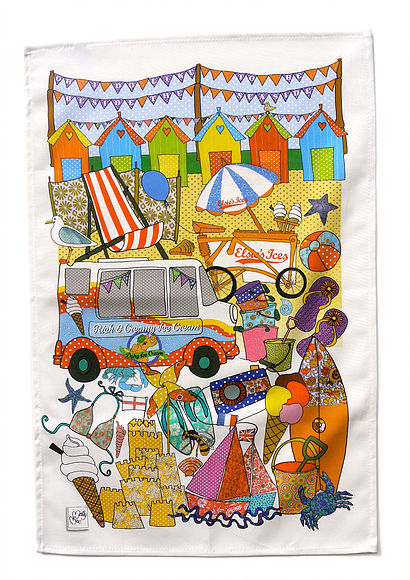 Tea towel celebrating the seaside -cotton kitchen towel -we call British Seaside