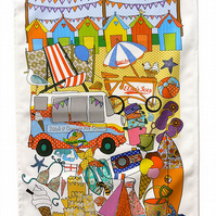 Tea towel celebrating the seaside -cotton kitchen towel - ON SALE