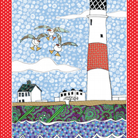 Tea towel - lighthouse design - we call 'Seaside Beacon' - cotton kitchen towel