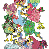 Dodo Tea towel, cute kitchen towel with dancing dodos, cotton printed dish towel