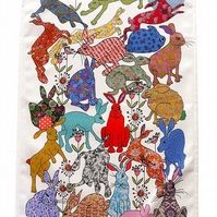 Tea towel - hare design-cotton kitchen towel-we call Flick of Hares- Dish towel