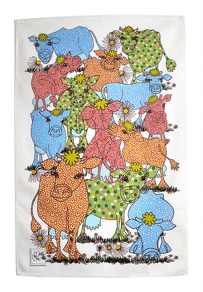 Tea towel -Cow design - Cow Girls in a Blue and Orange - Cotton kitchen towel