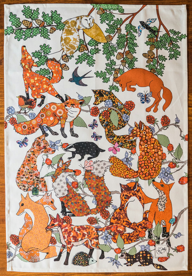 Tea Towel - Fox kitchen towel - We call 'Foxtrot' - Cotton tea towel