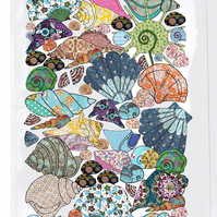 Tea towel - Shell design - cotton kitchen towel we call She Sells Seashells