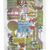 Tea towel - Garden design or Allotment kitchen towel -We call it-Time Well Spent