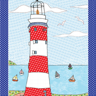 Tea towel - Coastal cotton kitchen towel -We call it Lighthouse with boats