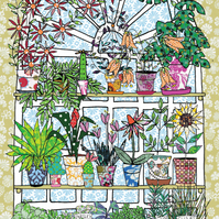 Tea towel, Dish cloth, kitchen towel of house plants in an arched window