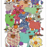 Tea Towel - Cow design - Cotton -We call it Bloomin' Lovely because they are!