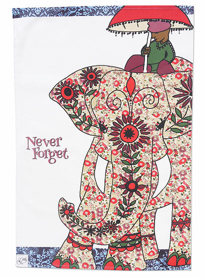 Tea Towel - Elephant kitchen towel -Cotton we call-Never Forget -Indian Elephant