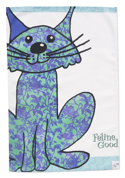 Tea towel - Cat design -Cotton kitchen towel -We call it Feline Good