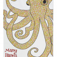 Tea towel - Octopus - Cotton kitchen towel - We call it  Many Hands