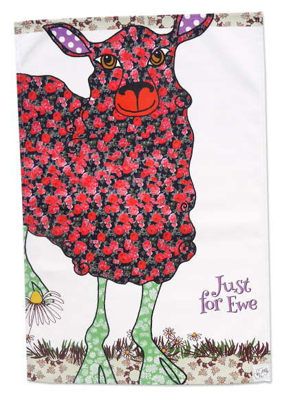 Tea towel - Sheep design - cotton kitchen towel - we call it 'Just for Ewe'