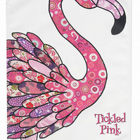 Tea towel - Flamingo design - cotton kitchen towel -With slogan 'Tickled Pink'