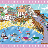 Tea towel - harbour cotton printed  kitchen towel - ON SALE