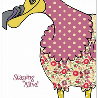 Tea towel - Dodo design - cotton dish towel - with slogan 'Staying Alive'