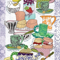 Tea towel - Cotton Kitchen towel, Pretty tea towel, Devon Cream tea