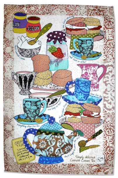 Tea towel - Pretty kitchen towel, Cornish Cream tea - Lovely souvenir