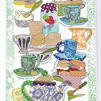 Tea towel, dish cloth, kitchen towel - British Cream tea design