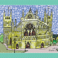 Tea towel - Devon kitchen towel - Cotton dish towel - Exeter Cathedral