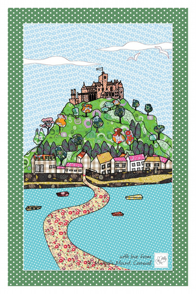 Tea towel of St Michael's Mount in Cornwall. Souvenir tea towel - cotton