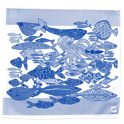 Napkins - Fish, blue and white