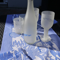 Table Runner -Blue and white, fish