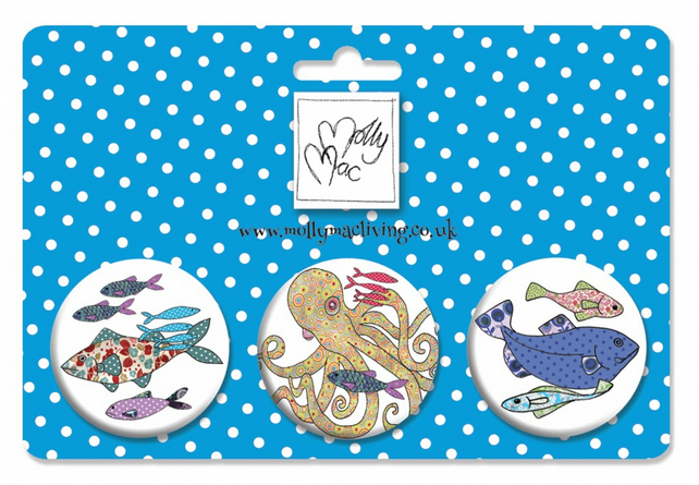 Designer Badge set of 3 Fish