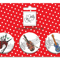 Designer Badge set of 3 musical instruments - violin, ukelele, bagpipes