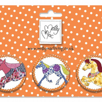 Designer Badge set of 3 prancing ponies