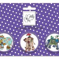 Designer Badge set of 3 elegant elephants parading about