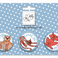 Designer Badge set of 3 cat, meowing moggies, purrfect