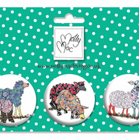 Designer Badge set of 3 Sheep