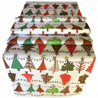 Christmas Table Runner Christmas trees, printed designer festive home ware