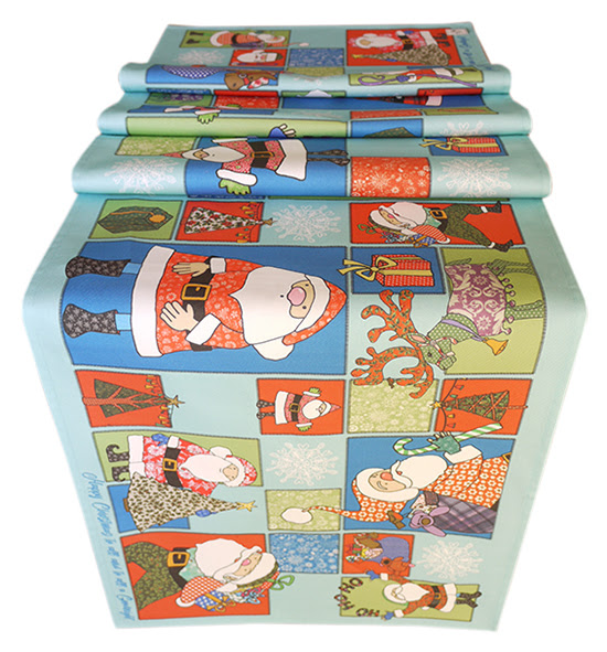 Christmas table runner, printed with Father Christmas for fun tables at Xmas