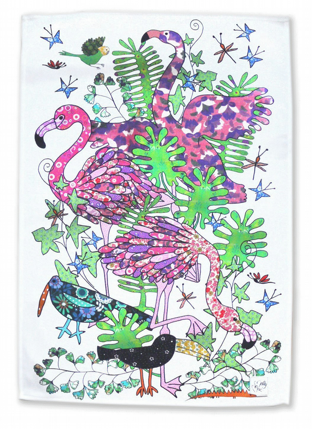 Flamingo Tea towel, kitchen towel, dish towel. Pretty pink printed cotton