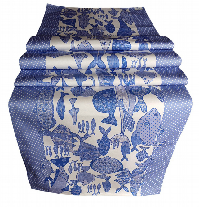 Blue and white Table Runner - fish design - We call it Something Fishy Blue