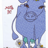 Tea towel - Cow - Cotton kitchen towel - Dish towel - We call 'Milk It'