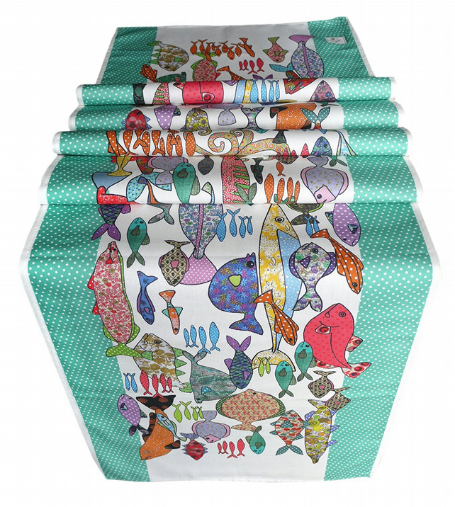 Fish Table Runner - Turquoise and multicoloured