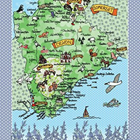 Tea towel - Devon Map Cotton kitchen towel - map of Devon with bluebell border