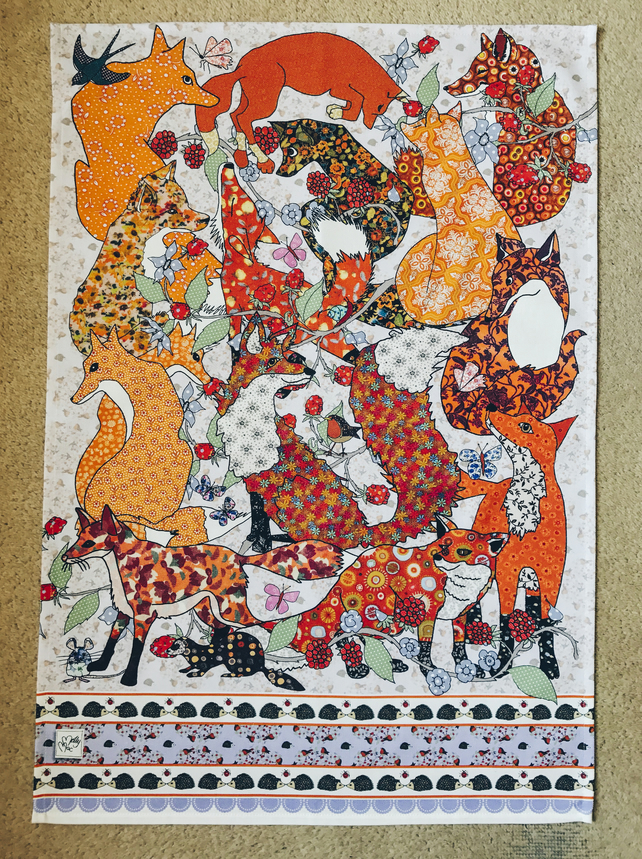 Fox tea towel or cotton printed dish cloth, gift for friend, foxes to love