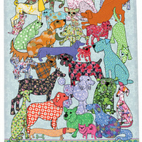 Tea towel dog design - Cotton kitchen towel - we call Dog and Bone
